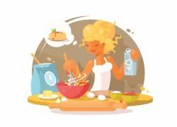 女人做饭插画图片