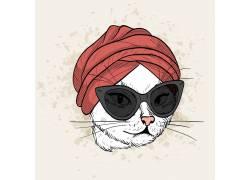 手绘高贵戴墨镜的猫