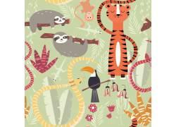 卡通动物园插画图片
