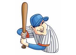 戴帽子打棒球的少年
