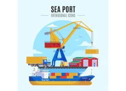卡通港口运输插画图片
