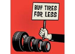 手绘汽车轮胎销售