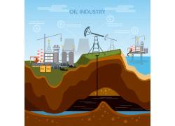 卡通石油勘探插画图片