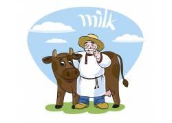 卡通牛场牛奶图片