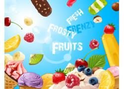 卡通水果与冰淇淋背景