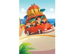 卡通家庭旅行场景