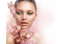 花朵化妆美容美女