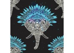 卡通大象与花朵设计图片