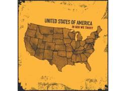 手绘美国地图图片