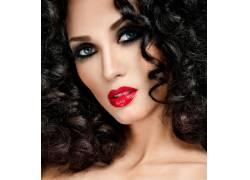 红唇的美发模特摄影