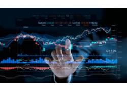 手掌和股市K线图背景