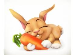 拥抱萝卜的兔子图片