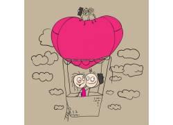 热气球上的卡通人物图片