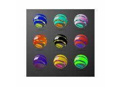 彩色球体logo设计