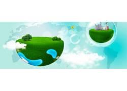 气泡绿色地球 横幅 banner