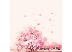 樱花树下的房屋