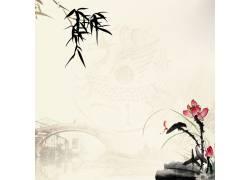 荷花拱桥中国风背景