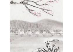 山峰木舟中国风背景