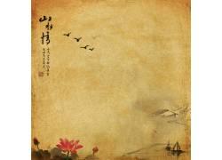 荷花帆船中国风背景