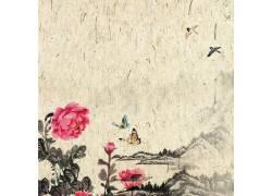 牡丹花蝴蝶中国风背景