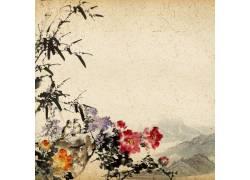 山峰牡丹花中国风背景