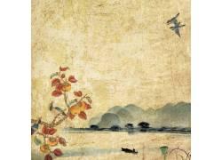 山果与山峰中国风背景