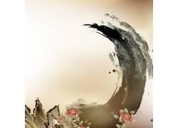 水墨牡丹花中国风背景