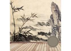 山峰水墨画背景