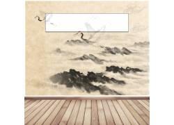山峦与仙鹤中国风背景