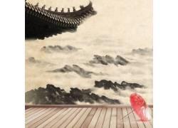 山峰雨伞中国风背景
