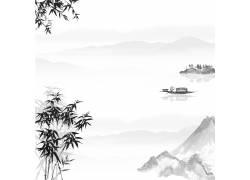 山峰帆船中国风背景