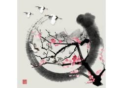 水墨梅花山峰中国风背景
