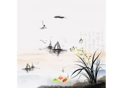 帆船花草中国风背景