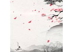 花瓣水墨画背景