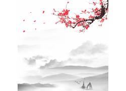梅花帆船中国风背景