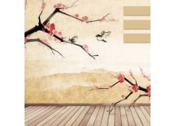 梅花山峰中国风背景