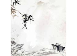 山峰竹叶水墨画背景