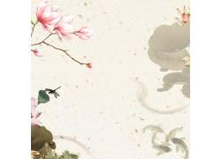荷花鱼儿中国风背景