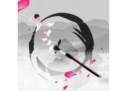 水墨毛笔中国风背景