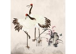 仙鹤与花丛中国风背景