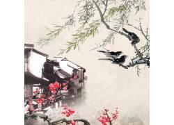 古典建筑柳树梅花中国风背景