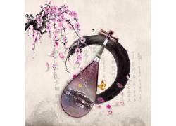 水墨古筝梅花中国风背景