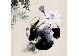 荷花竹叶中国风背景