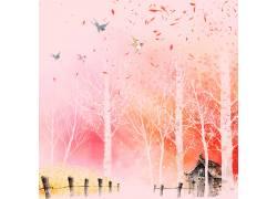 飞鸟树木中国风背景