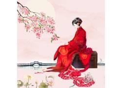 古典美女中国风背景