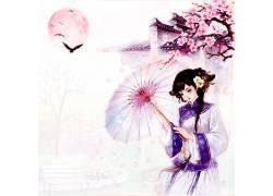古典撑伞中国风背景