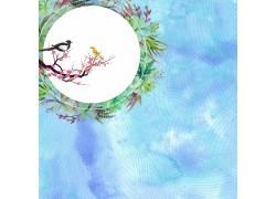花环与喜鹊中国风背景