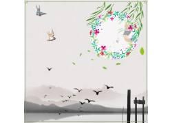 花环装饰框中国风背景