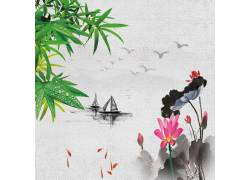 荷花竹叶帆船中国风背景