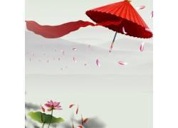 荷花雨伞花瓣中国风背景